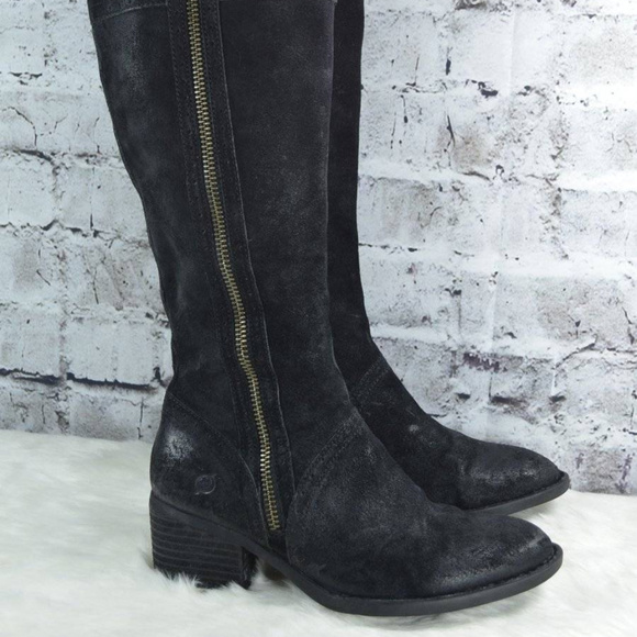 6acb2804214 Born Shoes - BORN Poly Black Suede Equestrian Riding Boots